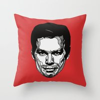 dexter Throw Pillows featuring Dexter by Dylan Morang