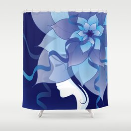 The Lady in Blue Shower Curtain