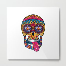 Colourful 80s-Style Sugar Skull Metal Print