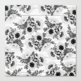 Country rustic black white wood sunflower floral Canvas Print