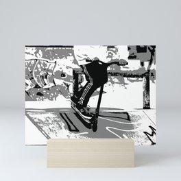 Down the Ramp - Stunt Scooter Rider  Mini Art Print