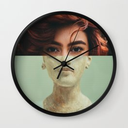 Red Head Girl Statue - Digital Collage Artwork Wall Clock