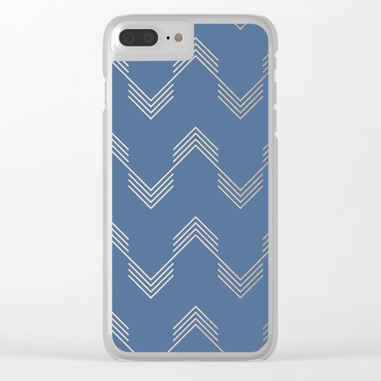 Simply Deconstructed Chevron White Gold Sands  on Aegean Blue Clear iPhone Case