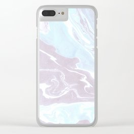 Blue Soft Marble Clear iPhone Case