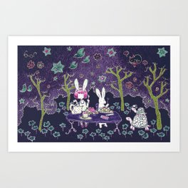 Tea Party in the Curious Forest Art Print