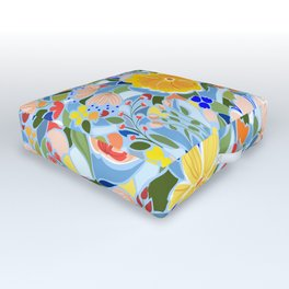 Summery Floral #illustration #pattern Outdoor Floor Cushion
