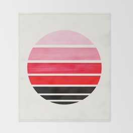 Red Mid Century Modern Minimalist Circle Round Photo Staggered Sunset Geometric Stripe Design Throw Blanket