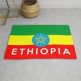 Ethiopia country flag name text Rug