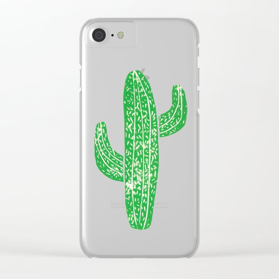 Linocut Cacti Green Clear iPhone Case