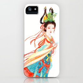 Watercolor Chinese Beauty -  Dunhuang iPhone Case