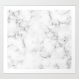 The Perfect Classic White with Grey Veins Marble Kunstdrucke