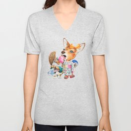 A child deer and squirrel at the summer festival Unisex V-Neck
