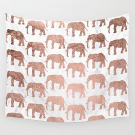 Modern faux rose gold elephants white marble Wall Tapestry