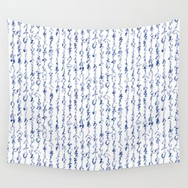 Ancient Japanese Calligraphy // Dark Blue Wall Tapestry