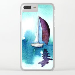 Purple Sails on Calm Seas Clear iPhone Case