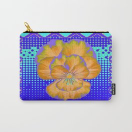 Golden-Lavender Pansy Modern Aqua-Blue Abstract Patterns Carry-All Pouch