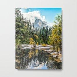 Yosemite's Half Dome After a Snowfall Metal Print