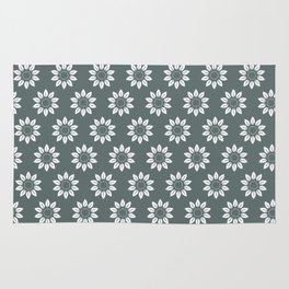 Ten Petal Flower Pattern (Grey) Rug