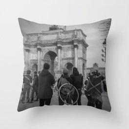 Cyclists, Le Louvre, Paris Throw Pillow