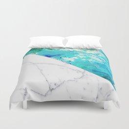 Teal watercolor paint splatters white marble Duvet Cover