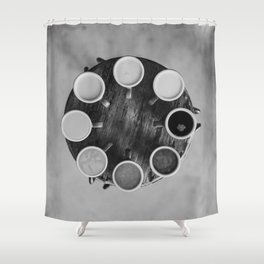 Coffee Circle (Black and White) Shower Curtain