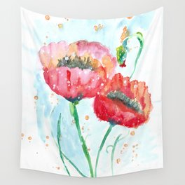 Poppy flowers no 4 Summer illustration watercolor painting Wall Tapestry