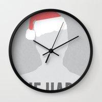 die hard Wall Clocks featuring Die Hard Minimalist Poster by Kyle-Bailey