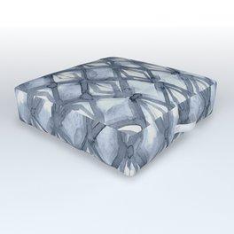 Braided Diamond Indigo Blue on Lunar Gray Outdoor Floor Cushion
