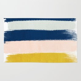 Esther - navy mint gold painted stripes brushstrokes minimal modern canvas art painting Rug