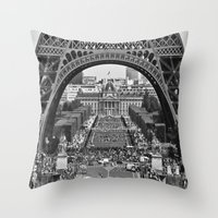 eiffel tower Throw Pillows featuring eiffel tower by AnnaGo
