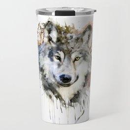 Wolf Watercolor Portrait Travel Mug