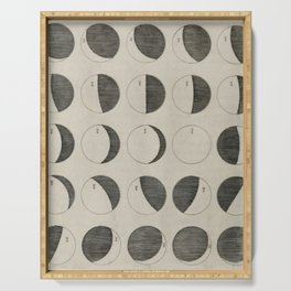 Antique Moon Phases Chart Serving Tray