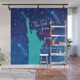 Statue of Liberty, freedom, 4th of July, Independence Day, Stars, New York, N.Y, USA Wall Mural