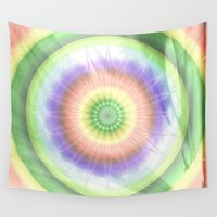 woodstock Wall Tapestries featuring Mandala hippie times by Christine baessler