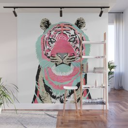 Pink Tiger Collage Wall Mural