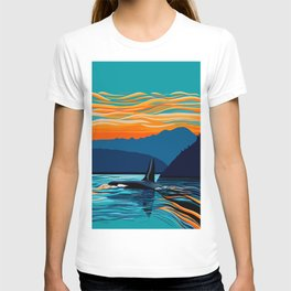Orca into the Fire Sky T-shirt