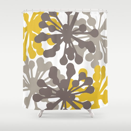 Modern Botanical Print Yellow Brown Shower Curtain By Aledan Society6