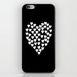 Hearts on Heart White on Black iPhone Skin