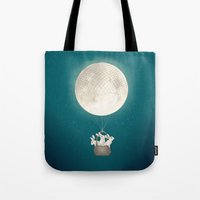 bunnies Tote Bags featuring moon bunnies by Laura Graves