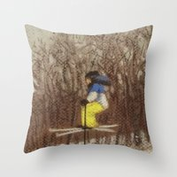 skiing Throw Pillows featuring Child Skiing by Marnie