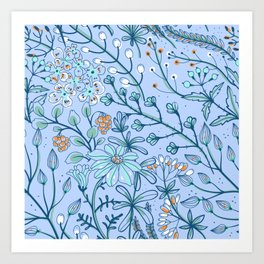 Azure Blue Woodland Floral Design With White and Orange Flowers Art Print