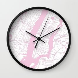 New York City White on Pink Wall Clock