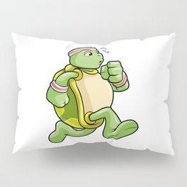 Turtle as Jogger with Sweatband and Headband Pillow Sham