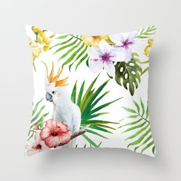 Tropical Bird Pattern 03 Throw Pillow