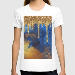 Gold Rain on Indigo Marble T-shirt