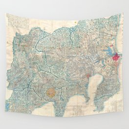 Vintage Map of Tokyo and Mt. Fuji Japan (1843) Wall Tapestry