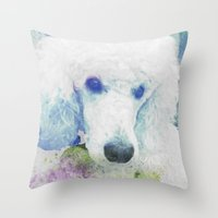 poodle Throw Pillows featuring poodle by Sarah Jane Connors