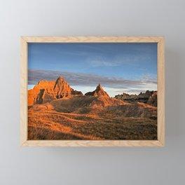 Winter Sunrise on Rocks in Badlands National Park of South Dakota Framed Mini Art Print