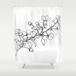 Apple Blossoms, A Continuous Line Drawing Shower Curtain