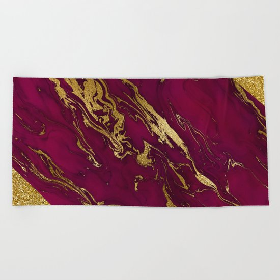 Luxury and glamorous gold glitter and pink marble Beach Towel